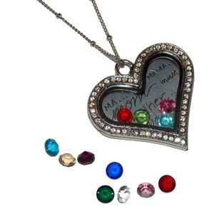 Jewelry - Mom Mother Madre Ma Heart Floating Locket Necklace